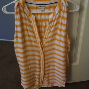 Stylus Striped Tank with Buttons